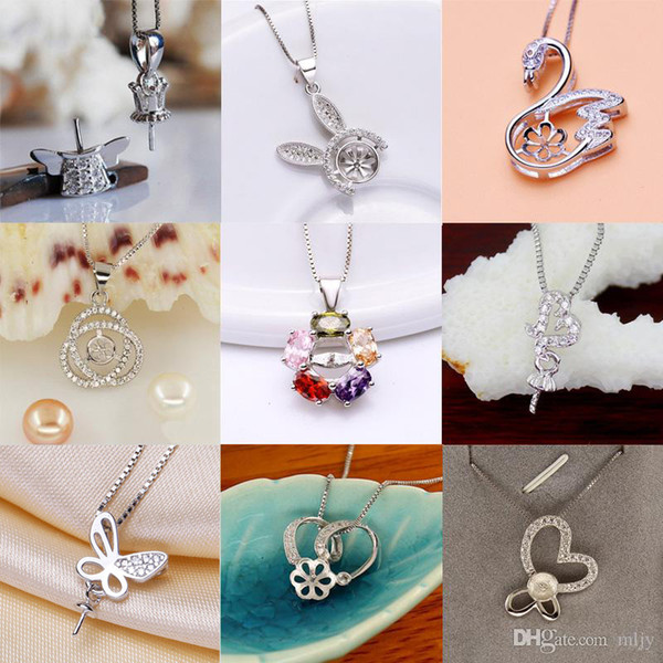 top popular Pearl Necklace Settings Sliver Pendant for Women Settings 9 Styles DIY Pearl Necklace Jewelry Settings With Chain Christmas Gift 2019