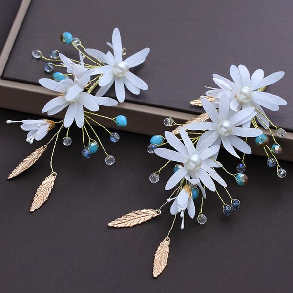 2 Pcs New Bridal Wedding Hair Clip Crystal Handmade Hairpins Golden Leaves Flowers Wedding Dress Accessories Headdress Sweet Jewelry