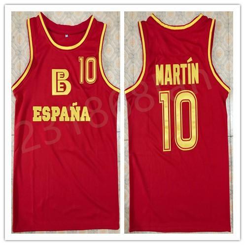 # 10 Fermando MARTIN spanische Nationalmannschaft Basketball Trikot Stickerei genäht benutzerdefinierte jede Nummer und Name Trikots