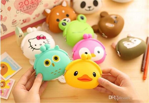 Mini Tier Fall Aufbewahrungstasche Kawaii Candy Owl Brieftasche Silikon Kleine Tasche Niedliche Geldbörse für Mädchen Schlüssel Gummi Brieftasche TO398