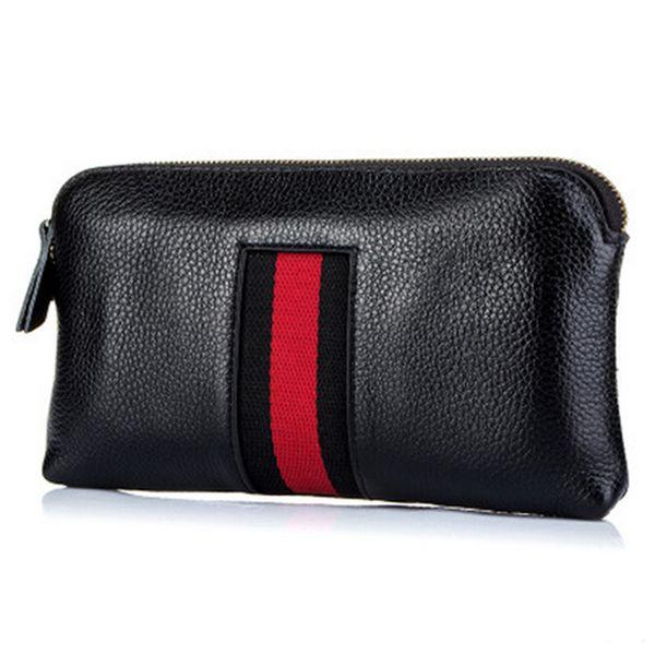 Mode Striped Echtes Leder Frauen Geldbörsen Münzfach Kredit ID Kartenhalter Weibliche Geldbeutel Geld Tasche Handytasche