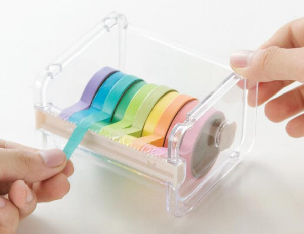 top popular Popular Stationery Masking Tape Cutter Washi Tape Storage Organizer Cutter Office Tape Dispenser Office Supplies 2021