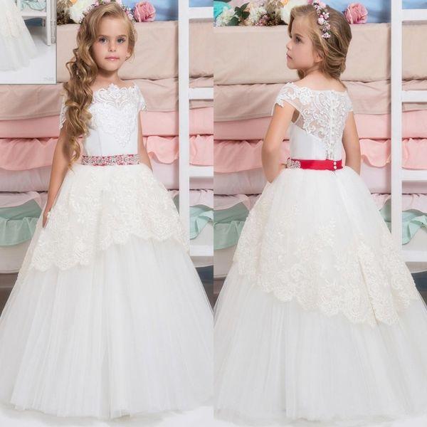 Little White Flower Girls Dresses Crew Lace Kids Wedding Dresses Vintage Floor Length Princess Kids Formal Wear With Sequin Flowers
