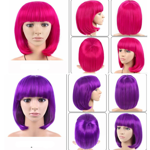 quick shipping color Short 12 Inch Straight Bobo Hair Wig Red Black Purple Yellow Cosplay Wigs Women Synthetic Hair Costume for Halloween