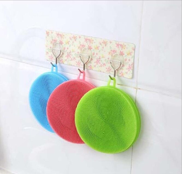Magic Silicone Dish Bowl Cleaning Brushes Scouring Pad Pot Pan Wash Brushes Cleaner Kitchen fast shipping
