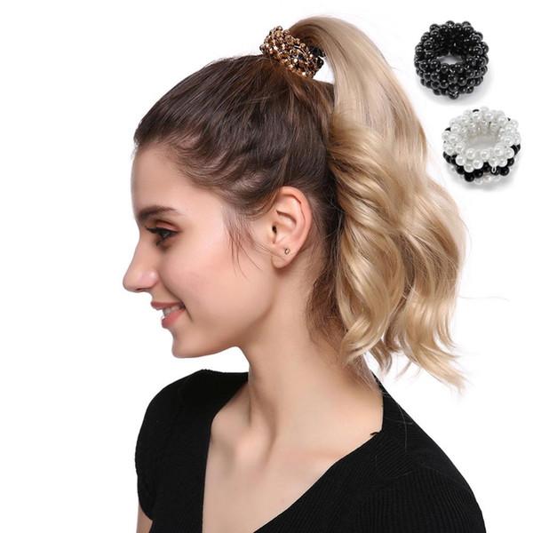 M MISM Moda Grandes Perlas de Imitación Circón Bandas Elásticos Del Pelo Para Mujeres Niñas Rhinestone Precioso Mujeres Goma Para Accesorios Para el Cabello