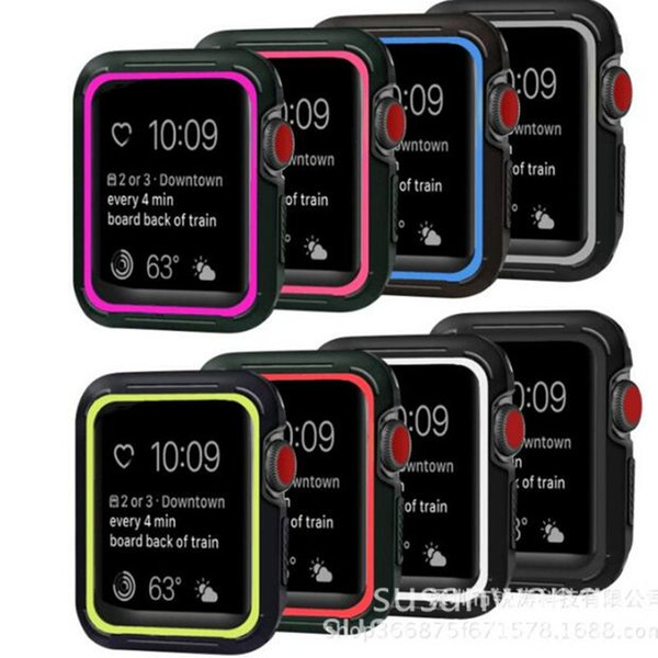 Smart Watch Sports Protective Case 40 44mm Soft TPU Protector Cases Silicone Defender Cover For iWatch Apple Watch Series 4 S4 Shell GSZ474