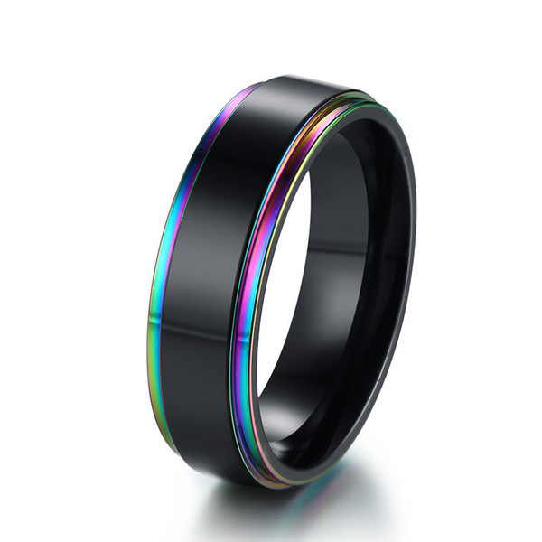 Rainbow Edge Mens Wedding Band Ring 6mm Black Stainless Steel Classic Simple Male Jewelry Statement US Size 7-12