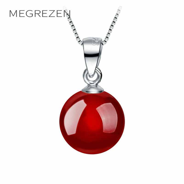 MEGREZEN Charms Red Necklace Girocollo By The Neck Gioielli Black Pendant Chokers Collane per donne Collier Ras De Cou Argent Wh-4