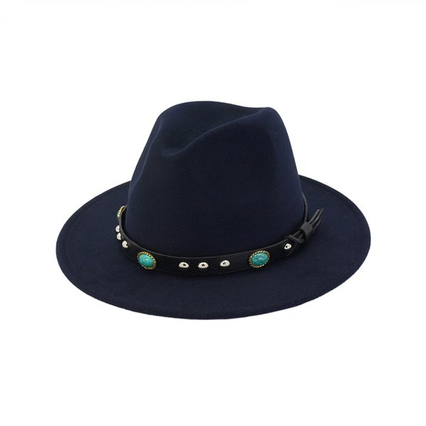 Men Women Flat Brim Wool Felt Vintage Panama Fedora Hat Gem Leather Decoration Fashion Jazz Cap Gambler Sombrero Trilby