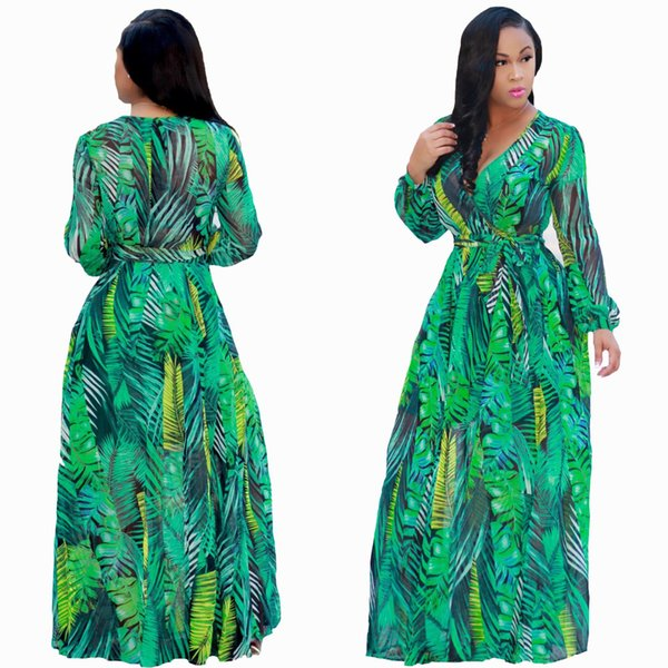 Printing Floral Chiffon Maxi Dresses 2018 Autumn V Neck Women Bohemian  Dress Long Sleeves Plus Size Female Dresses Long Dresses Sale Dr Ess From  ...