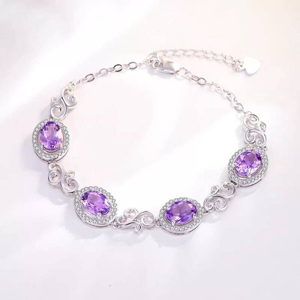 South Korea's Natural Amethyst Bracelet Female Sterling Silver Personality Simple Ladies Hand String Clear Hand Rope.