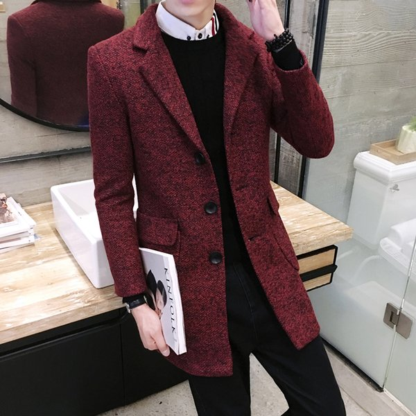 Autumn and Winter Mens Long Sleeve Trench Slim Men Long Coats Business Casual Lapel Jackets S M L XL 2X 3XL