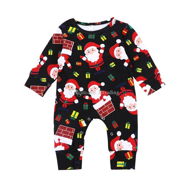 Christmas Costume Baby girls boys Santa Claus print romper children Xmas Long sleeve Jumpsuits 2018 Autumn kids Climbing clothes C5143