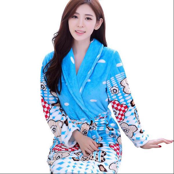 4e56998292 Women Nightwear Cute Cartoon Coral Fleece Warm Bathrobe Nightgown Kimono  Dressing Gown Sleepwear Bath Robe For Ladies Home Wear