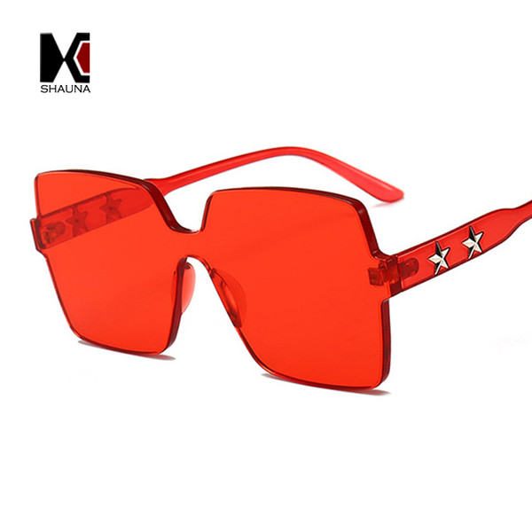 SHAUNA Five-pointed Star Decoration Thick Lens Candy Colors Sunglasses Oversize Clear Red Blue Pink Green Sun Glasses Women