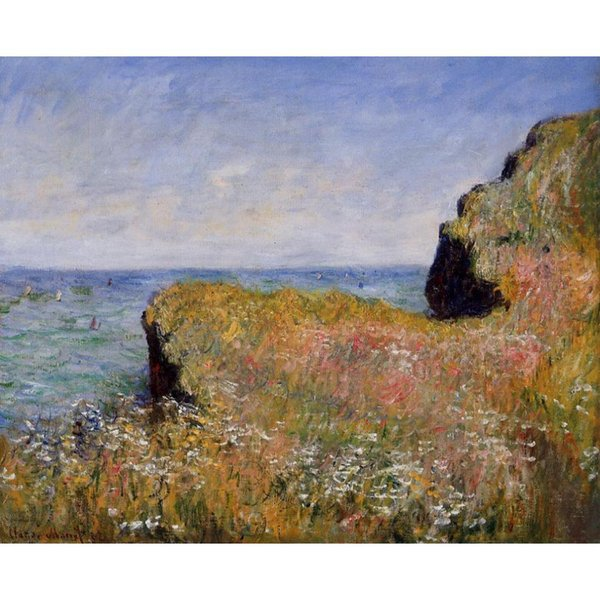 Wall Art Oil Painting Edge of the Cliff, at Pourville Claude Monet famous artwork on Canvas Hand painted