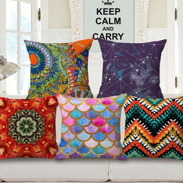 Fantastic Watercolor Geometric Art Cushion Covers Nordic Stripes Plaids Triangles Stars Cushion Cover Decorative Linen Cotton Pillow Case