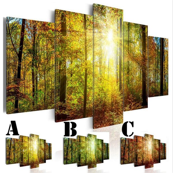 Wall Art Picture Printed Oil Painting on Canvas No Frame Home Decor Extra Mirror Border Sun Light Among Trees