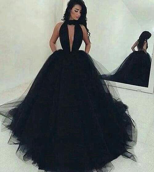 Compre Vestido De Novia Gótico Negro Halter Plisados Blusa Falda De Tul Vestido De Novia Colorido Sin Respaldo Sexy Vestido De Novia De Color No