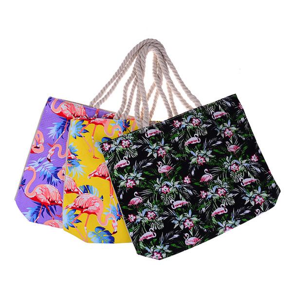 1PCS Fashion Flamingo Printed Canvas Shopping Bags Animal Designs Beach Bags Women Handbags Casual Handbags Gifts