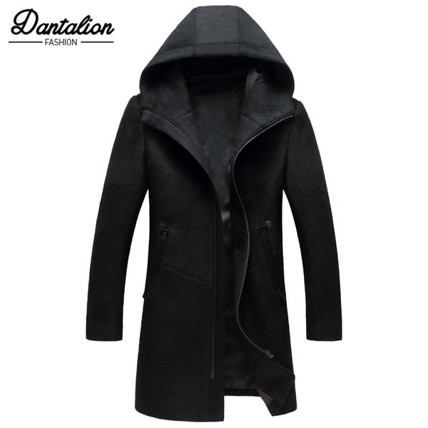 Autumn new men's wool coat in the long hooded zipper Korean version of the slim jacket blends