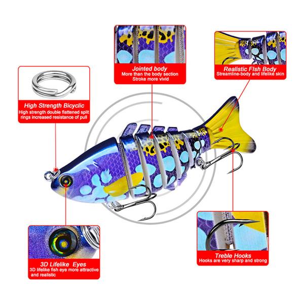 Painted Realistic Jointed Fish VIB Fishing Lures 10cm 15.6g 7 Segments lifelike Swimming Wobbler Laser swimbaits Musky Bait Hooks