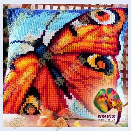 DIY Needlework Kits Unfinished Crewel Yarn Embroidery Pillow Case Cushion Cover Cross Stitch Pillowcase Butterfly 10 Types