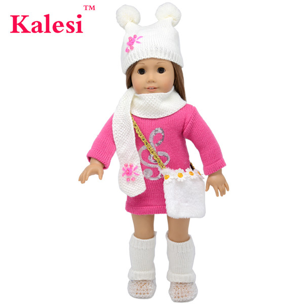 6 Piece 18 inch girl clothes Accessories doll sweater dress & hat & bag - 18 inch doll clothes Accessories Set
