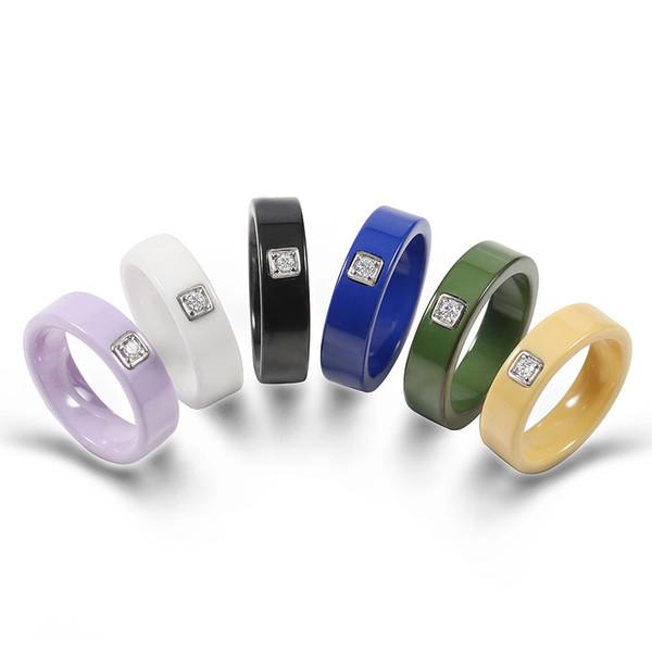 6 Colors Simple Design Ceramic Men's Rings Silver Base Setting Cubic Zircon Ceramic Rings Exquisite Wedding Rings For Women