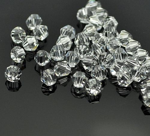 top popular CLEAR WHITE BICONE CRYSTAL GLASS BEADS 4MM #5301 SPACER BEADS FOR JEWELRY MAKING 2020