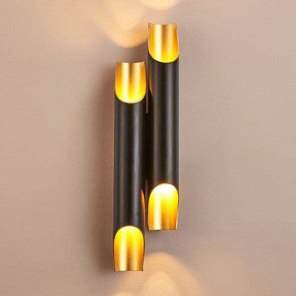 Pipe Wall Lamps Modern Bathroom Light Tube Wall Art Lighting Living Room Bedroom White Black & Gold Wall Sconce LED G9