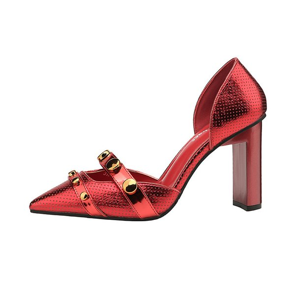 2018 Summer New Stylish Pointed High Heels Thick with Nightclubs Sexy Joker Mature Fashion Waterproof Non-slip Red Silver Black