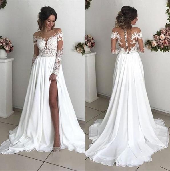 Günstige Sommer Boho Long Sleeves Brautkleider Sheer Applikationen Off Shoulder Split lange böhmische Land Brautkleider