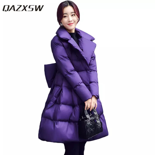 2018 New Winter Cotton Coats Women Warm Padded Jacket For Girls Parkas Long Pretty Style Ladies Jacket Bow Overcoat HB260