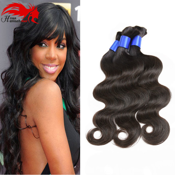 best selling Hannah product Unproceseed Bulk Hair For Braiding 3pcs Body Wave Human No Weft Brazilian Hair Micro mini Braiding Bulk Hair