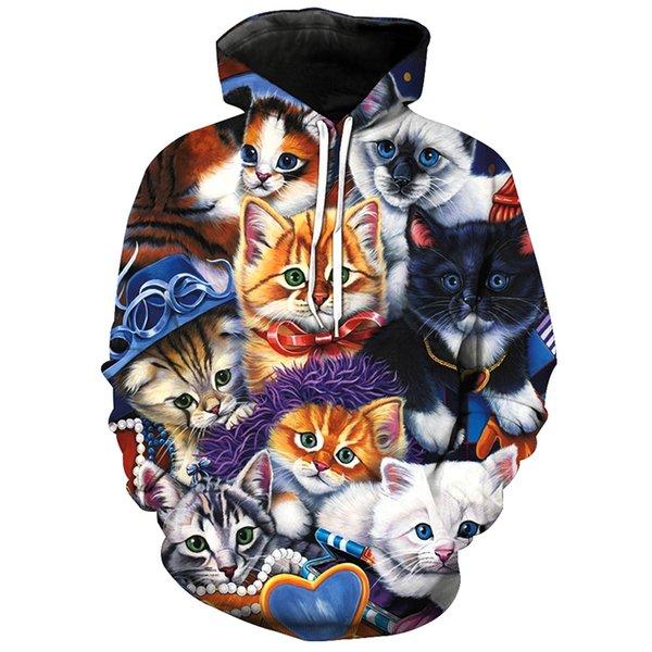 Gatos bonitos Mais Novos Homens Da Moda / Mulheres Tops 3d Impressão Hoodies Camisola Unisxe Engraçado de Manga Comprida 3D Hoodies N43