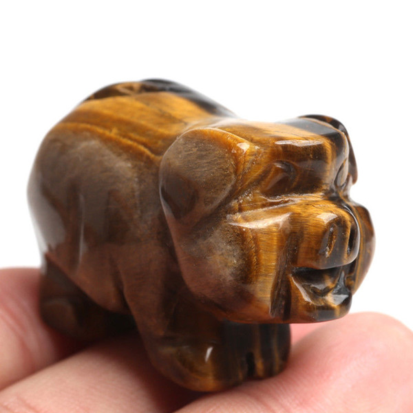 """1.57"""" Natural Tiger-eye Crystal Pig Hand Carved Lovely Pigs Paperweight Art 1PC"""