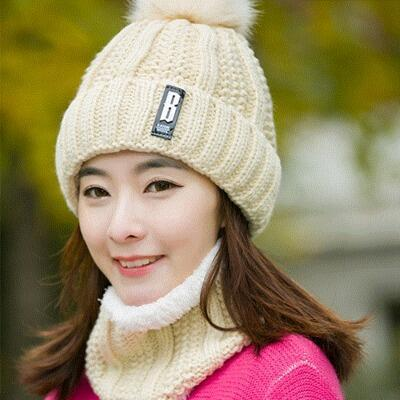 beige Hat and Scarf