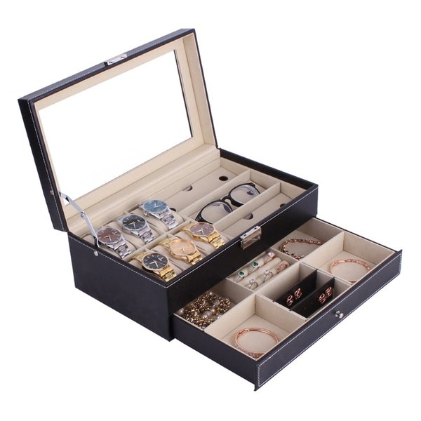 OUTAD Double Layers 6 + 3 Grids Guarda Glassess Holder PU Leather Watch Box Anelli Braccialetto di stoccaggio gioielli Display Cofanetto