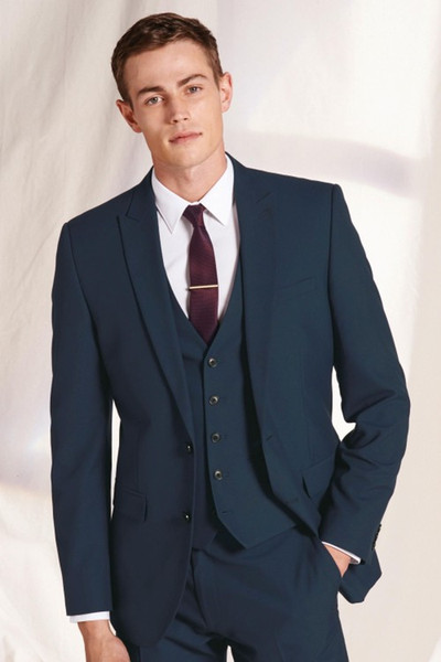 2018 Latest Coat Pant Designs navy blue peaked lapel men tuxedo formal men suits for business wedding party tailor made 3 pieces