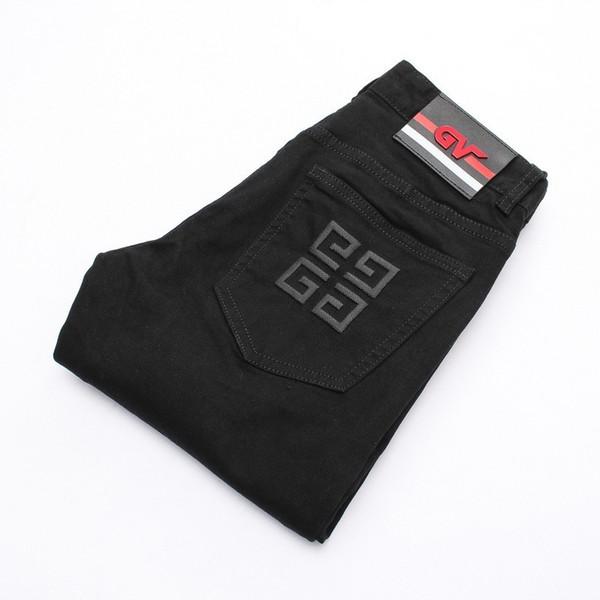 Uomo di alta qualità Jeans di design neri Piedi sottili Jeans micro-elastici Maschio 8916