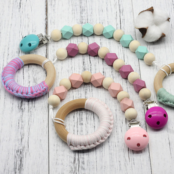 Wooden Pacifier Clips Non-toxic Soother Clips Baby Pacifier Holder Teething Toy Attache Sucette Dummy Clip