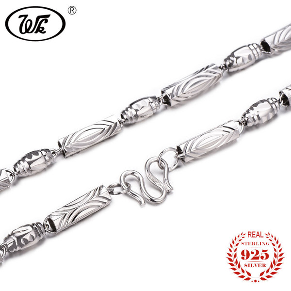 WK Pure 925 Sterling Silver Men Chain Necklace 18 20 22 Inch 4mm 5mm 6mm Olives Fashion Chain Necklaces For Man Dad Boy OW NM006 Y18102910