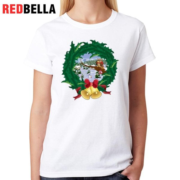 Women's Tee Redbella Woman Tshirt Top Ulzzang Kawaii Lovely Owls Christmas Design Cozy Hipster Ladies Tops Printing Women Clothes 2017 Mujer