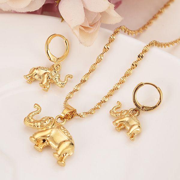 24k Yeloow Solides feines Gold füllte nette Elefant-Halskettenohrringe modische Schmucksache-Charme-hängende Kettentier-glückliche Schmucksachesätze