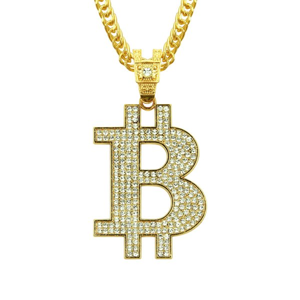 Hip Hop B letter gold Pendants Necklaces & Pendants Bling Bling Iced Out Crystal Necklaces Stainless Steel Rope Chain