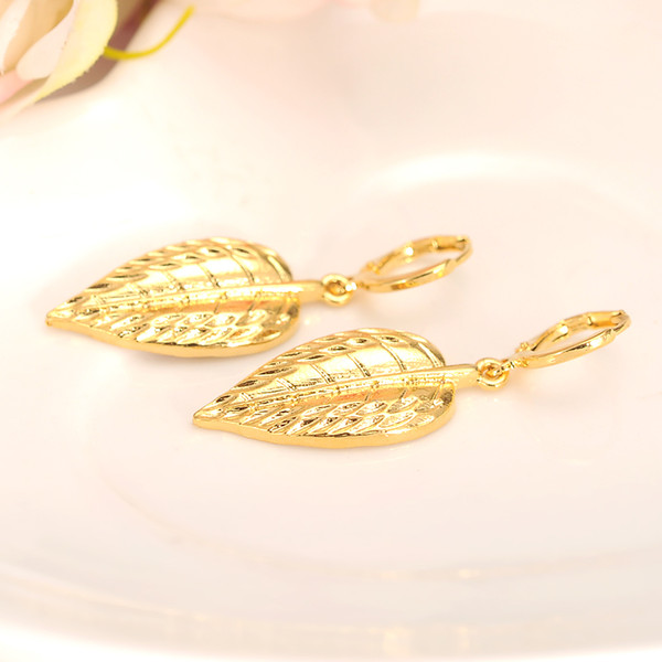 Statement 14 k Yellow Solid Fine Gold GF Leaves Drop Earrings dubai india gold Pendientes Mujer Jewelry Long Dangle Earrings