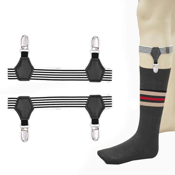 Cinto Cinto de Alta Elastic Preto Listras Brancas Meia Braçadeira Para Uniforme Camisa Leggings Suspender Meias Garters Anti-slip Clipe