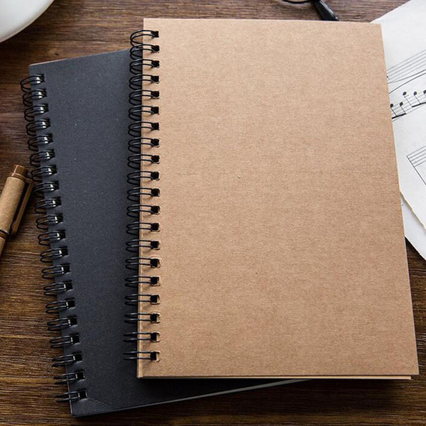 best selling Portable Business Kraft Papers Notepads Black Drawing Sketch Notebook Spiral Journal Notebooks School Office Suppliers ZA5794